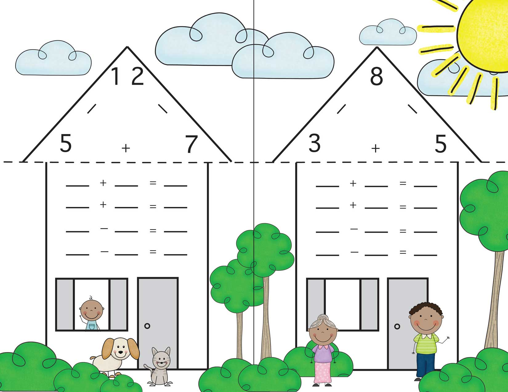 worksheet Fact Family fact family houses 12 and 8 these family